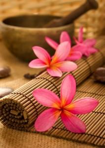 Fleur et tapis de massage shiatsu