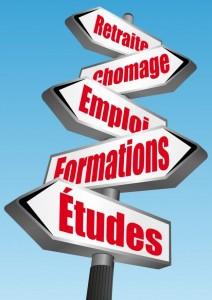 un panneau illustrant l'emploi et les formations